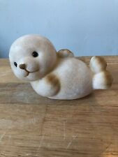 VINTAGE MONEY BOX BROWN FURRY SEAL HARD PLASTIC PIGGY BANK MONEYBOX SAVINGS
