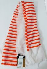 STEVE MADDEN Large Square Fashion SCARF Neon Bright Orange & White Stripe NEW