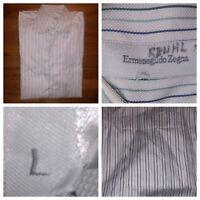 Ermenegildo Zegna Striped Cotton L/S Dress Shirt Size 16/41 Large