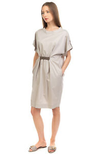 RRP €280 PME PESERICO Shift Dress Size 42 / S Gathered Studded Made in Italy