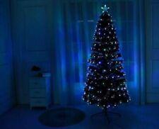 WHITE 4 5 6 7FT Fibre Optic LED Pre Lit Christmas Tree Festive Decor Xmas Tree