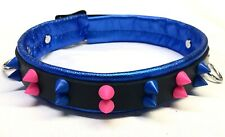 Lockable leather collar colorful spikes w/D rings Choose colors metallic / vinyl