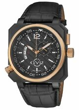 GV2 by Gevril Men's 4525 XO Submarine Rose-Gold IP Black Leather Date Wristwatch