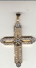 Clearn Rhinestones, Brand New Cross Medal/Pendant, Gold Color With
