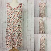 NAFNAF Size 10 Pretty Floral Sleeveless Shift w Ruffled Hemline  Viscose  Lined