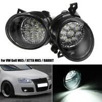 Pair 9 LED Car Fog Light Lamp White Left & Right H11 Bulb For VW Golf MK5