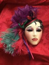 FLAWLESS Stunning CLAY ART SAN FRANCISCO Multi Ceramic Feather WOMAN LADY MASK