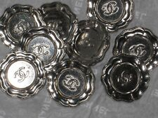 CHANEL AUTH. 9  CC LOGO FRONT silver  BUTTON  22  MM /  1'' NEW LOT 9