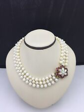 Vintage Estate 14K Diamond Ruby Cultured Pearl Gold triple strand Necklace 17""