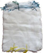 100 x White Net Sacks 30cm x 50cm Holds 5Kg Mesh Woven Bags Kindling Logs Onions