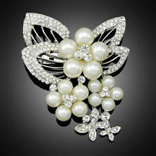 Stunning Silver Plated Pearl Crystal Vintage Inspired Butterfly Statement Brooch