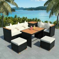 vidaXL 22 Piece Outdoor Dining Set Wicker Poly Rattan WPC Garden Lounge Seat