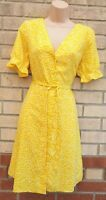PAPAYA YELLOW WHITE SPOTTWED BUTTONED BELTED BACK A LINE TEA DOLLY DRESS 12 M