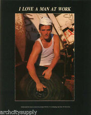 MINI POSTER: ANDRE FISET - I LOVE A MAN AT WORK-SEXY MALE MODEL #APR84  RP58 O-L