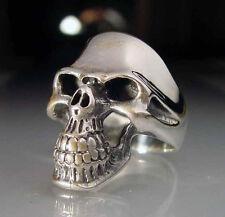 Stainless Grinning Classic Skull Biker Ring Custom Size Handmade Occult R-40ss