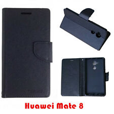 Huawei Ascend Mate 8 Mooncase Stand BLACK Wallet Case Cover FREE Screen Guard