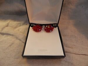 Vintage Crystal Lized with Swarovski Elements Red Earrings