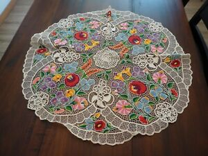 Vintage Hungarian Embroidered KALOSCA Round Tablecloth