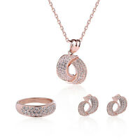 Valentines Gift Sweet Rose Gold Crystal Rhinestone Necklace Earrings Jewelry Set
