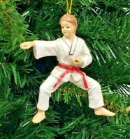 "*SAMPLE SALE* KARATE GIRL RESIN CHRISTMAS ORNAMENT 4"" (WH5)"