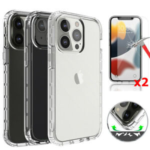 For iPhone 13/12/Pro/Max/Mini/11/Pro Case Clear Slim Cover With Screen Protector