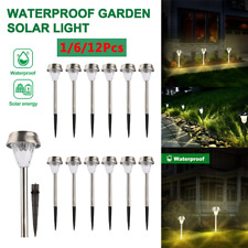 12Pc Outdoor Solar Power Pathway Light Garden Landscape LED Light Yard Lawn Lamp