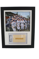 Display w/ Colorized Brooklyn Dodgers Photo & w/ PSA 3x5 signed Cookie Lavagetto