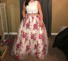 Prom/formal dress, Ivory Pink/White, size 12-16, pre-owned