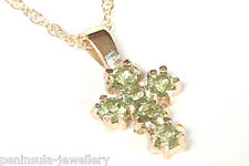 9ct Gold Peridot Cross Pendant and Chain Made in UK Gift Boxed Necklace