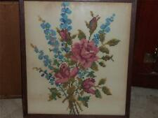 VNTG. CROSS STITCH PICTURE LOVELY ROSES IN VERY OLD FRAME A MUST SEE LOT (A)