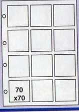 20 FOGLI CONTENITORI RACCOGLITORI FIGURINE CARDS 70 x 70  MM DA 12 TASCHE