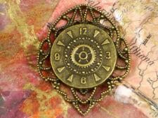 4 Steampunk Clock Medallion Pendants Bronze Filigree Watch Face #P1099