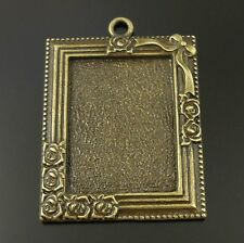 8pcs Antique Bronze Alloy Rectangle Rose Photoframe Tray Pendants 30*22mm 36640