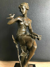 Bronzefigur Skulptur Art Deco Akt Freiheit im Geiste Signiert Nick Vintage 22 cm