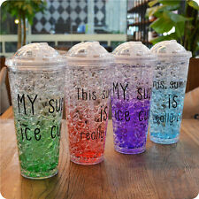 Party Reusable Plastic Drink Iced Coffee Juice Cup Beaker Lid Smoothie Straw