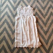 L New Bohemian Women's Laced Crochet White Tunic Mini Beach Tank Dress Large