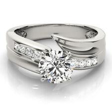 1.20 Ct Round Cut Diamond Engagement Wedding Ring Real 14K White Gold Size 6 7