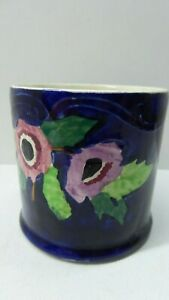 VINTAGE MALING WARE POTTERY VASE POT CYLINDER HAND PAINTED FLORAL ART DECO PEONY