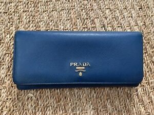 Authentic Prada Navy Leather Saffiano Continental Wallet