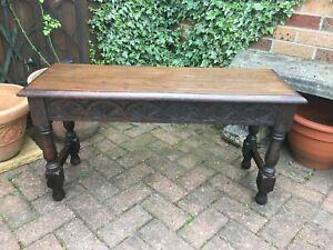 antique circa 1850 solid dark tudor oak carved hall bench table antique table