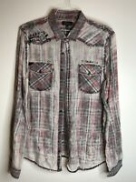 Silver Jeans Mens Size XL Sheer White Red Black Plaid Shirt Metal Buttons Collar