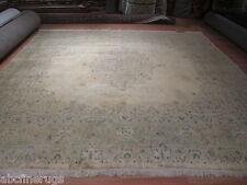 12x12 Muted Square Kirman Kerman Vegetable Dye Handmade Knotted Wool Rug 582389