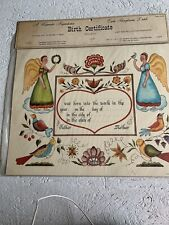 Vintage Birth Certificate Watercolor Reproduction New In Package 1967 Dutch