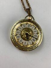 Elegant Vintage Signed Ladies Swiss Lucerne Pocket Watch Pendant Necklace Runs!