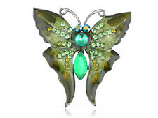 ChicDesign Green Enamel Peridot Crystal Rhinestone Butterfly Moth Pin Brooch