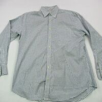 Peter Millar Button Front Shirt Long Sleeve Blue Check Business Casual Large