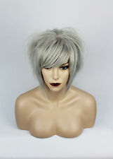 Silver Blonde Human Hair Short Bob Wig, Unisex, One Size.