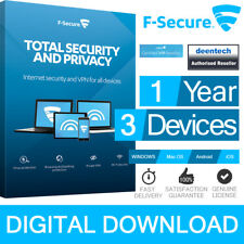 F-Secure Total Internet Security Privacy PC Mac Smartphone 1 Year 3 Devices