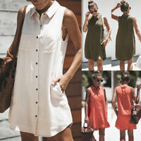HOT Women Button Blouse Sleeveless Loose Summer T SHIRT Mini short Dress Tops CI