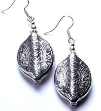 LARGE ANTIQUE SILVER OVAL BEAD [30X22mm] DROP EARRINGS - WITH ORGANZA GIFT BAG